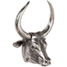 Howard Elliott Nickel Plated Steer Head Wall Decor