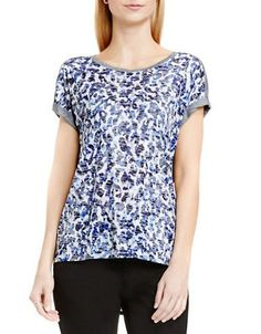 Two By Vince Camuto Animal Printed Top Women's Blue X-Large