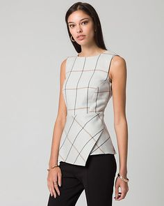 Grid Check Print Viscose Blend Blouse - An eye-catching grid check print patterns the tailored silhouette of this viscose blend peplum blouse. Formal Tops For Women, Stylish Tops For Women, Classy Work Outfits, Classy Dress, Office Outfits, T Shirt Sewing Pattern, Sophisticated Outfits, Fashion Vocabulary, Well Dressed