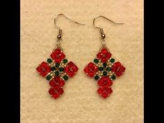 Christmas Crisscross Earring Tutorial..this could easily be used in other color schemes and be quite lovely.