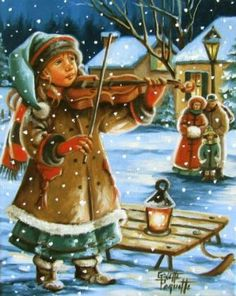 Ginette Paquette, Un air sous la neige, 2013, Huile, 10 po. x 8 po. Christmas Scenes, Christmas Carol, Christmas Pictures, Winter Christmas, Antique Christmas, Vintage Christmas Cards, Christmas Greeting Cards, Christmas Drawing, Old Fashioned Christmas