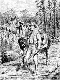 Black & White & Sketches on Behance Black Pen Sketches, Black And White Sketches, Black White, Cowboy Horse, Cowboy Art, Book Drawing, Comic Drawing, Western Comics, Western Art