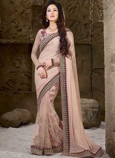 Pitchish Peach Diamond Work Butta Work Net Chiffon Satin Half Designer Sarees