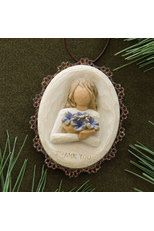 Willow Tree Thank You Ornament. Each original #WillowTree #sculpture is hand carved by artist Susan Lordi. Using #family and #friends as models, Susan's goal is to capture a moment in time or express an intimate feeling. Pieces are cast from her original carving and individually painted by hand. Softly washed colors, carved and metal accents, and representative icons of #nature add depth and sentimentality to this beloved line.  #thankfulness #thanksgiving #Christmas