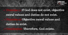 Do Objective Moral Truths Exist in Reality?  -  The moral argument: If God does not exist, objective moral values and duties do not exist. Objective moral values and duties do exist. Therefore God exists.