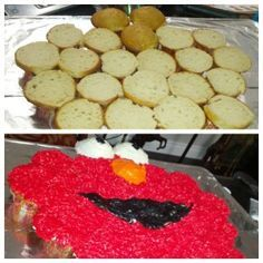 Elmo cupcake pull apart cake, Elmo birthday cake