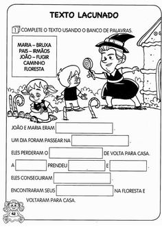 História Infantil João e Maria com imagens | Espaço Infantil Education, Comics, Memes, Words, 30, Portal, Fairy Tale Activities, Poetry Activities, Writing Activities