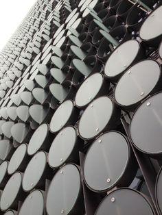 Architecture we like / Facade / Picxel Facade / Black / Circles / at henrycaird | Parametric pixel facade. henn studio b. 2009.
