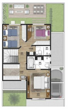 Triplex piso 2 Sims 4 House Plans, Bungalow House Plans, Dream House Plans, Modern House Plans, Small House Plans, Modern House Design, House Floor Plans, Small Villa, House Plans With Pictures