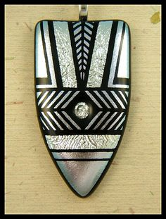 More magnificent etched and fused dichroic glass from Lyn Owen (silvermoonlyn on ArtFire)