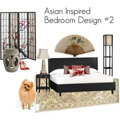 Asian Inspired Bedroom Design in red and beige with a black bed, pagoda lamp, cherry blossom screen, large paper fan on the wall, and Crate & Barrel furniture. Asian Inspired Bedroom, Asian Inspired Decor, Asian Home Decor, Bedroom Themes, Home Decor Bedroom, Bedroom Furniture, Bedrooms, Bedroom Ideas, Asian Room