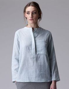 Relaxed lightblue shirt with a front pocket, made of a soft cotton woven fabric, with a mandarin collar with hidden button closure and long, rolled sleeves, wit How To Roll Sleeves, Mandarin Collar, Woven Fabric, Tunic Tops, Pocket, Cotton, Shirts, Design, Women