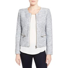 """Nordstrom - This mega-department store sells a plethora of pieces from multiple brands including Halogen, Vince Camuto and MICHAEL Michael Kors fit for ladies 5'4"""" and under.HalogenZip Front Collarless Jacket, $128."""