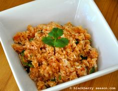 This is a great side dish for jambalaya. Small bits of cauliflower are processed into rice-sized pieces, giving the dish a very traditional look.