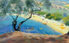 Achladies Bay, Skiathos, Greece, 1985 by Anne Durham Art Print on Canvas Magnolia Box Size: Extra Large Frames On Wall, Framed Wall Art, Framed Art Prints, Painting Prints, Oil On Canvas, Canvas Art, Canvas Prints, Big Canvas, Acrylic Paint Set