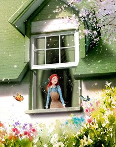 Anne of Green Gables, by Ji Hyuk Kim Illustration Mignonne, Cute Illustration, Watercolor Illustration, Korean Illustration, Anne Green, Anne With An E, Illustrations, Anime Scenery, Anime Art Girl