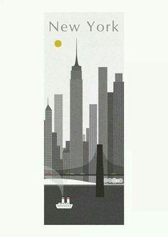 Nyc modern cartoon art skyline
