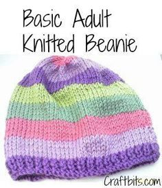Basic Adults Knitted Beanie — craftbits.comInstructions Cast on 74 sts. Work in k1, p1 ribbing for 6 rows.  Work in stockinette stitch (knit 1 row, purl 1 row) until piece measures 7 inches (18 cm) from cast on edge, ending with a purl row. k2tog across. 37 stitches remain. P 1 row. K2tog across, ending k1. 19 stitches. Sew together