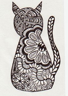 zentangle cat | Art: Cat Zentangle / Zentangle Cat @Kathleen S Beevers Looks like a cool art form...
