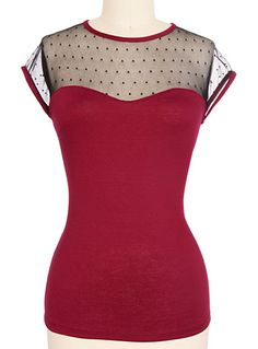 Miss Fancy Top in Burgundy $32.00 AT vintagedancer.com