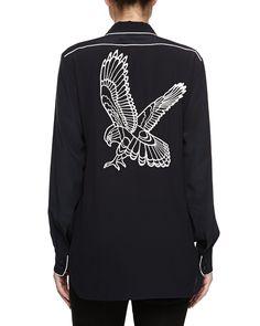 Silk Hawk-Print Shirt