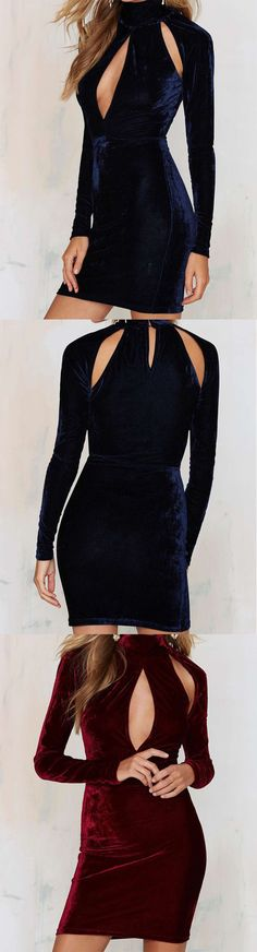 Burgundy Velvet Bodycon Dress, only $16.99 , featuring your amazing figure. Most popular and fashionable velvet material in fall and winter season.