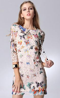White Half Sleeve Butterfly Pattern Lace Belt Dress - Fashion Clothing, Latest Street Fashion At Abaday.com