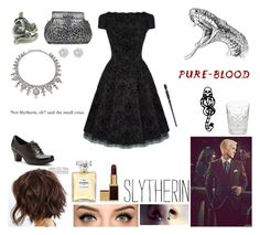 Slytherin - Death Eather Party by realslytherinpride on Polyvore featuring CO, Cobb Hill, Tom Ford, Chanel, Waterford, Lorraine Schwartz, mark., harrypotter, slytherin and deatheater