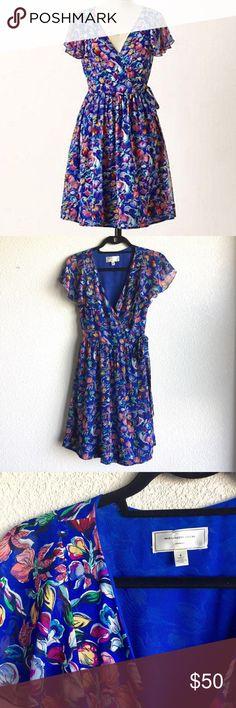Anthropologie Moulinette Soeurs Floral Wrap Dress Vibrant sapphire blue floral wrap dress by Moulinette Soeurs Anthropologie in a size 4. Excellent condition, no flaws. Anthropologie Dresses Mini