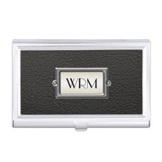 Monogrammed 3-Letter Executive Men's Personalized Business Card Case Holder
