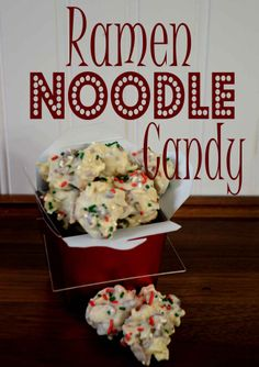 Day 6~12 Days of Christmas Candy, Ramen Noodle Candy #recipe #whiteChocolate #pecans #almonds #ramennoodles