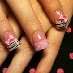 zebra print tips and bows with soft pink tip and polka dots