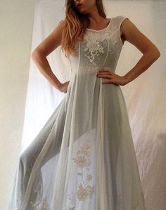 Vintage Wedding Dress   Sheer   Train   Boho   Beaded   Embroidered   White   Floral   Festival   Burning Man by VampRodeoVintage on Etsy