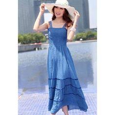 Bohemian Style Gallus Design Ruffled Flouncing Edge Elastic High Waist Lace Splicing Sleeveless Women's Long Dress, BLUE, ONE SIZE in Bohemian Dresses   DressLily.com