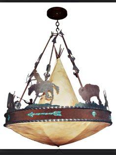 Cherokee iron works rustic western lighting rustic western ancient western lamp of buffalo hide aloadofball Images