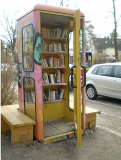 Bookcase in old phone box