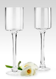 14 1/2 ($15 or $108 for box with 8)- and 17 1/2-inch ($18 or $136 box with 8) High Glass Pedestal Vases