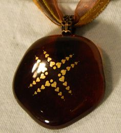 Golden hearts on Fused Amber brown Glass Pendant by uniquenique, $28.00 #handmade #onfireteam #lacwe #teamfest #jewelry #pendant #fused glass