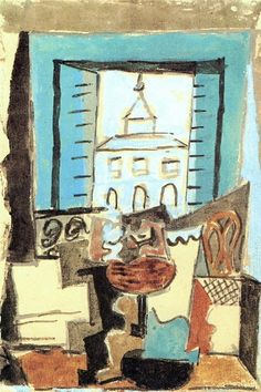 Pablo Picasso - Guitar and Fruit Dish on a pedestal in front of an open window [Still life in a window], 1919
