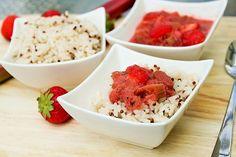 Reisküche: Reis & Quinoa-Porridge mit warmem Erdbeer-Rhabarer-Kompott Freundlich, Quinoa, Food, Rice, Health, Food Food, Kochen, Simple, Recipies