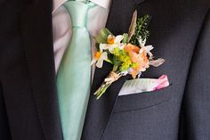 Maggie Sottero for a Mint Green and Peach Rustic Barn Wedding
