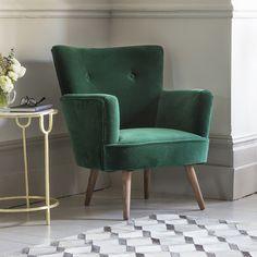The Archie Green Velvet Armchair Living Room Chairs, Home Living Room, Living Room Decor, Sofa Design, Interior Design, Green Velvet Armchair, Navy Velvet Chair, Marble Console Table, Console Tables