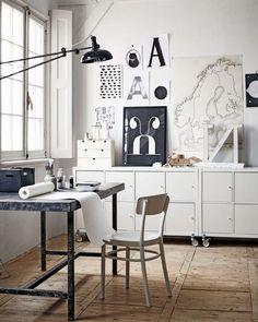 Black and white office in scandinavian interior design.