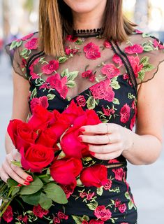 794229fdbc Sydne Style shows pretty red floral dresses for valentines day outfit ideas  #florals #valentinesday