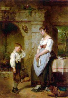 """The lesson"" 1887, Leon Émile Caille (1836-1907), French painter."