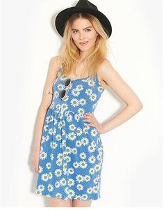 Influence Daisy Print Smock Dress