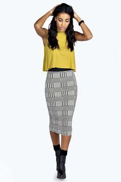 Donna Dogtooth Check Midi Skirt alternative image