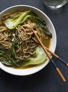 take out fish broth for vegetable  pak choi & garlic noodles