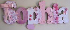 Sophia rosa e branco porta maternidade | Válvula de Scrap | Elo7