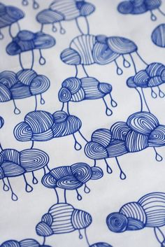 Weather Pattern Fabric Cobalt Blue on White por LilaRubyKingShop
